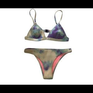 Purple tie dye triangl scuba bikini